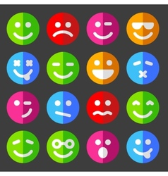 Flat and round emotion icons with smiley faces vector