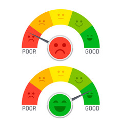 Flat emotion pain scale from poor to good vector