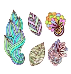 Floral collection in zentangle style Hand drawn vector image vector image