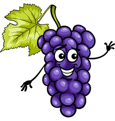 funny blue grapes fruit cartoon vector image