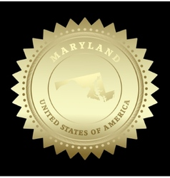 Gold star label Maryland vector
