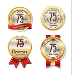 golden badge anniversary collection 75 years vector image