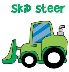 Green skid steer cartoon vector image