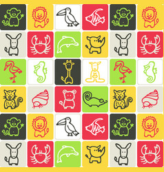 Hand drawn icons set - animals 2 vector