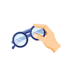 Hand with optical eyeglasses isolated icon vector