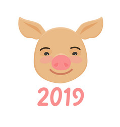 happy chinese new year of pig cute funny piggy vector image
