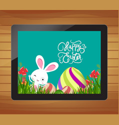 happy easter invitation with bunny egg and floral vector image