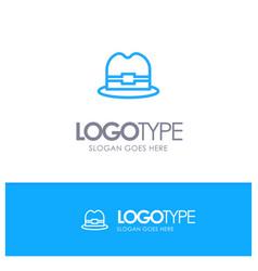 hat tourism man blue outline logo place for vector image