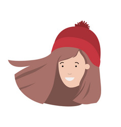 Head of woman with winter hat avatar character vector