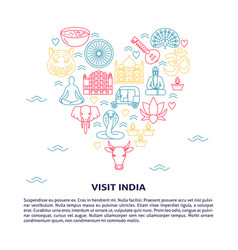 india concept banner in thin line style with place vector image