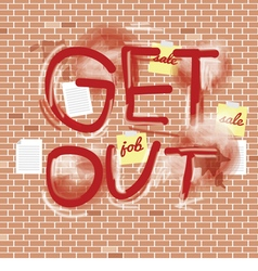 Inscription Spray On Brick Wall vector image