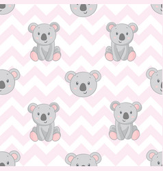 koala bear pattern seamless pattern pink vector image