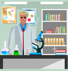 laboratory assistant man working vector image