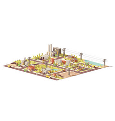 low poly city waste management vector image