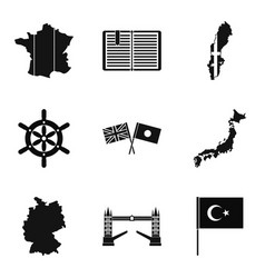 mainland icons set simple style vector image