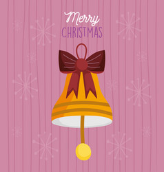 merry christmas celebration gold bell with bow vector image