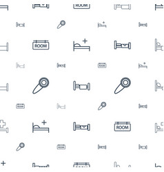 Motel icons pattern seamless white background vector