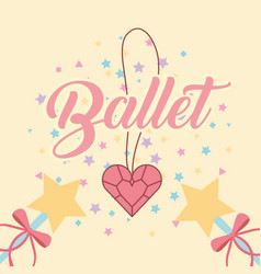 necklace heart diamond magic wand ballet vector image