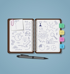 notebook with business pen drawings vector image