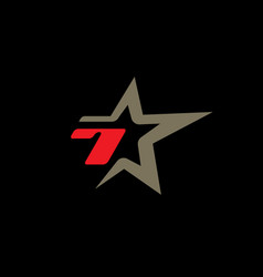 number 7 logo template with star design element vector image