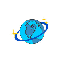 planet globe icon on space logo vector image