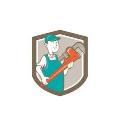Plumber Monkey Wrench Shield Cartoon vector