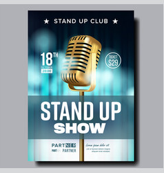 Poster announcement of night stand up show vector