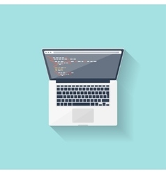 Programming and coding online flat style web vector