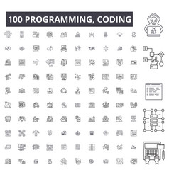 programming coding editable line icons 100 vector image