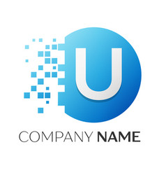 Realistic letter u logo in colorful circle vector