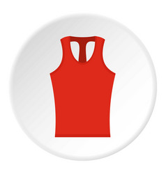 Red sleeveless shirt icon circle vector