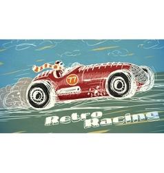 Retro racing car poster vector