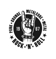Rock n roll black emblem with hand gesture vector