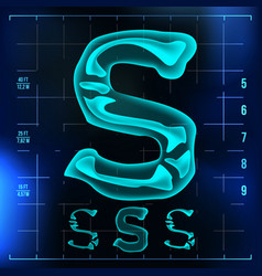 S letter capital digit roentgen x-ray vector