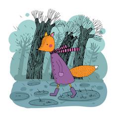 Sad fox walking in the rain hand drawing vector