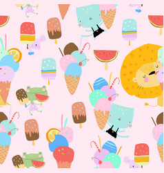 Seamless pattern with happy animals eating ice vector