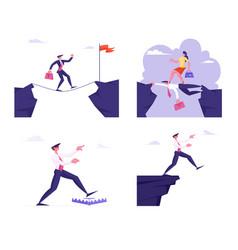 Set business people in dangerous crisis vector