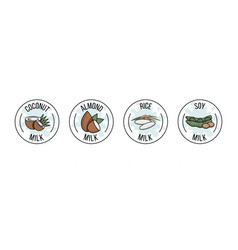 Set labels with coconut almond rice and soy vector