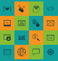 Set of 16 marketing icons includes ppc web page vector