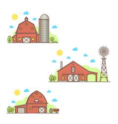 Set of american farm icon vector