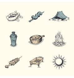 Set of different hiking icons vector