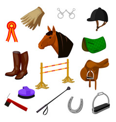 set of equestrian and grooming icons vector image
