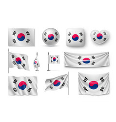 set south korea flags banners banners symbols vector image