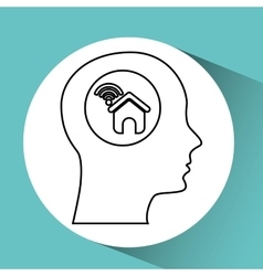 Silhouette head house wifi icon vector
