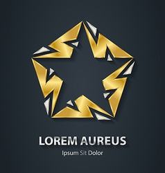Silver and Gold star logo made of lightnings Award vector image
