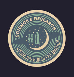 space science and research vintage isolated label vector image vector image