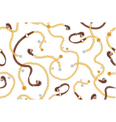 stylish seamless pattern with luxury golden chain vector image