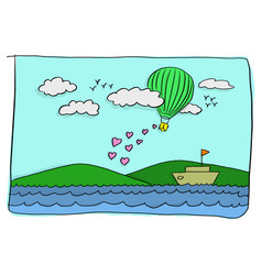 sweet valentine card of green hot air balloon vector image