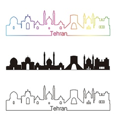 Tehran skyline linear style with rainbow vector