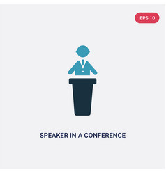 Two color speaker in a conference icon from vector